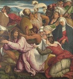 Jacopo Bassano: 'The Way to Calvary', 1544-45. The braided hair arrangement on Mary Magdalen is interesting.