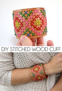 An everyday wood cuff gets an amazing makeover. This DIY stitched wood cuff is a fashion statement you can be proud of! : An everyday wood cuff gets an amazing makeover. This DIY stitched wood cuff is a fashion statement you can be proud of! Homemade Crafts, Diy Crafts, Crochet Projects, Sewing Projects, Cross Stitch Patterns, Crochet Patterns, Mode Statements, Do It Yourself Organization, Bijoux Diy