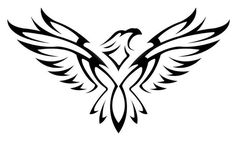 Amazing-Black-Tribal-Flying-Hawk-Tattoo-Stencil.jpg (736×440)