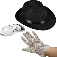 c029a928a3a Amazon.com  Set of 3 - Fedora Hat Sequin Glove And Sunglasses by Funny  Party Hats (Fedora Hat Sequin Glove And Black Sunglasses)  Clothing
