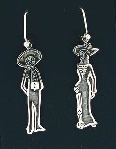 Sterling Silver Sexy Dia de los Muertos Mexican Dangle Earrings #DropDangle