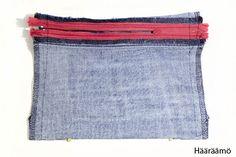 Laatikkopenaali        Hyödynsin useaan kertaan paikattujen farkkujen ehjää kangaspintaa jatehdastekoisia saumoja näihin pussukoihin. N...