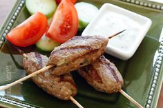 If you're looking for something different to make at your next BBQ, give these Middle Eastern inspired turkey kebabs a try! A cross between a grilled meatball and a hamburger on a stick. You can skip the stick if you wish or even cook them in a skillet, but with Memorial Day around the corner, I thought these would be fun!