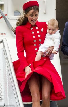 Marilyn moment: The Duchess Of Cambridge nearly suffered a wardrobe malfunction as she touched down in Wellington, New Zealand on Monday wit...