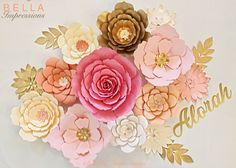 17 pcs - PAPER FLOWER BACKDROP - All flowers in image - dessert table flowers - home decor - baby room decoration - Kardashian baby shower Table Flowers, Gold Flowers, Paper Flowers, Hanging Flowers, Baby Shower, Bridal Shower, Paper Flower Backdrop, Leaf Coloring, Baby Room Decor