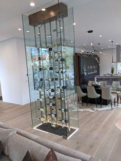 Modern all glass wine rack. Wine Cellar Racks, Glass Wine Cellar, Home Wine Cellars, Wine Cellar Design, Wine Rack Wall, Wine Wall, Bungalow Interiors, Luxe Decor, Wine House