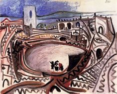 """Pablo Picasso - """"Arles - the arenas before the RhУne"""", 1960"""