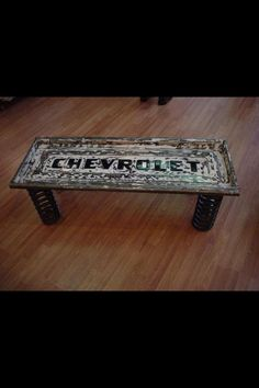 coffetable was made out of an old truck tailgate