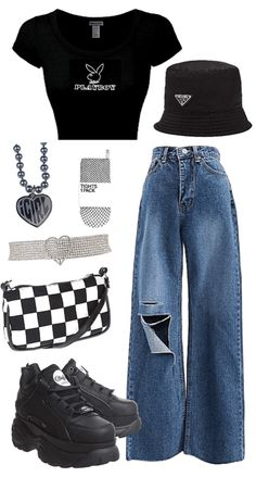 Baddie Outfits Casual, Cute Comfy Outfits, Indie Outfits, Teen Fashion Outfits, Swag Outfits, Retro Outfits, Stylish Outfits, Polyvore Outfits Casual, Tomboy Fashion