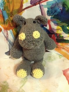 Crochet Amigurumi hippo from the pattern in Edward's Menagerie, in acrylic.  #edsanimals