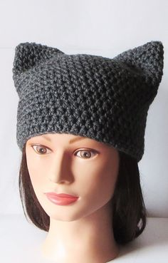 Crochet Kitty Hat Pattern : Gray Cat Hat, Crochet Cat beanie, Animal Beanie Hat, Kitty Kitten Hat ...