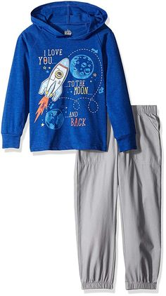 Kids Headquarters Boys' Hooded Jersey with Poplin Pants Set: 2 pieces pant set - long sleeve tee with applique and pants Boys T Shirts, Sports Shirts, Junior Girls Clothing, Clothing Sets, New Outfits, Kids Outfits, Old Navy Kids, Kids Headquarters, Colorful Hoodies