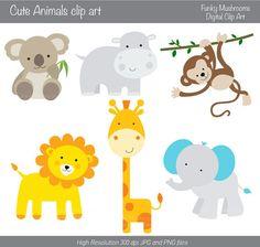 $3.52 Digital Clipart - Cute Animals koala lion giraffe hippo monkey elephant for Scrapbooking Invitations Paper grafts INSTANT DOWNLOAD