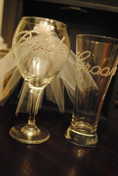 Bride and Groom Wine and Beer glass set. Great for wedding day and bridal shower/bachelorette party