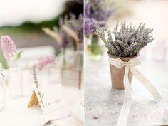 décoration de mariage en lavande- idées de marque-place et centre de tabe