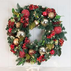 Inch Artificial Christmas Wreath] – Scarlet Hydrangea Collection – Red and Gold Decoration – Pre Lit with 50 Warm Clear Colored LED Mini Lights – Includes Remote Controlled Battery Pack with Timer – Wall's Furniture & Decor Outdoor Christmas Wreaths, Artificial Christmas Wreaths, Outdoor Wreaths, Easy Paper Crafts, Diy Crafts, Best Photo Printing, How To Make Wreaths, Ornament Wreath, Furniture Decor