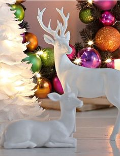holiday decorations DIY tacky holiday figurines spray painted white gold or silver