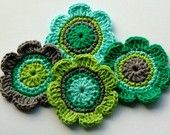 Crochet:  Annie Design flowers.  Love the color combinations.