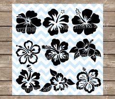 Hawaii fleur SVG Hibiscus sticker Hibiscus pochoir Floral SVG Tropical plage été svg dxf Cricut Silhouette Cameo