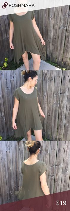 Olive Green Dress Beautiful flowy olive green dress. Bought from cotton on, only worn once. In perfect condition. Size is a XS but fits well on a small or medium even. Super cute to pair with boots for the fall. Please comment any questions down below ❤️ Cotton On Dresses High Low