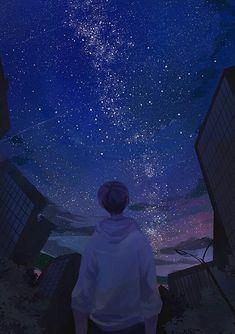 Beautiful art anime boy ideas for 2019 Aesthetic Anime, Aesthetic Art, Hd Sky, Anime Galaxy, Sky Anime, Wow Art, Anime Scenery, Digimon, Vaporwave