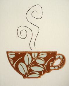 Coffee Cup Machine Embroidery Design Applique Design 4x4 and 5x7. $3.99, via Etsy.