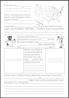 Presidents notebooking page.