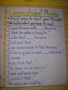 "Great Anchor Chart for Read Aloud discussions.  I called it Read a Loud Sentence starters--and all my students loved it on Day 1.  It helps them so much with the ""complete sentence"" mantra we have been pushing them towards."