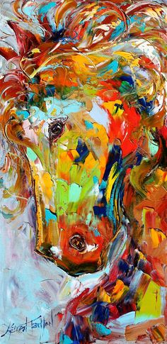 Original oil painting Abstract equine Horse Pony Portrait by Karensfineart