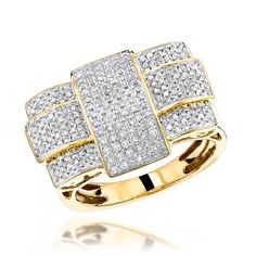 Luxurman Solid 10K Criss Cross Mens Natural 1 Ctw Diamond Ring For Him (Yellow Gold Size 10.5)