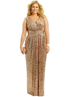 Dress U Women's Plus Bridesmaid Dresses Sequin Formal Evening Prom Gown Party Size 26W US Gold Dress U http://www.amazon.com/dp/B019Z405TM/ref=cm_sw_r_pi_dp_BAbSwb13NYKZA