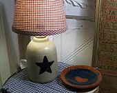 Americana Primitive Star Pottery Lamp with Shade