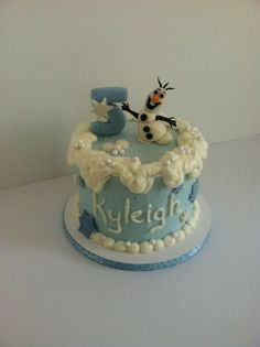 """Olaf """"Frozen"""" cake, done by Bunnycakes July 2014."""