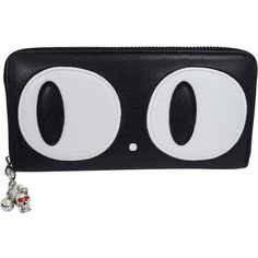Banned Nugoth Kawaii Gothic Kitty Cat Big Eye retro Black Wallet ($3.95) ❤ liked on Polyvore featuring bags, wallets, retro wallet, retro bag, gothic wallet, goth wallet and cat wallet
