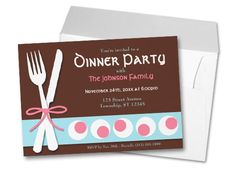Dinner Party Invitations Dinner Party Invitations, Invites, Wedding Invitations, Girl Scouts, Pink Blue, Rsvp, Stationary, Celebrations, Party Ideas