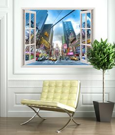 Vinyl that simulates a window with the famous street of leisure, full of ads in Manhattan \(New York, USA\). Nasdaq, Froggy Stuff, Barcelona Chair, Window Wall, Wall Stickers, Lounge, Windows, Furniture, Home Decor