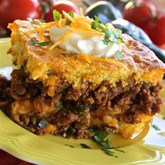 Hot Tamale Pie - Allrecipes.come recipe below is a good version to get the basics (the one I had was a print out from Essence several years ago). I don't crust with cornbread(reduces cook time, and less carbs) and only sometimes add in cheese. I used salsa in mine last night, but normally use spicy diced tomatoes; so the recipe can be easily deviated as you experiment.