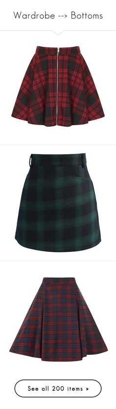 """""""Wardrobe --> Bottoms"""" by cookienano ❤ liked on Polyvore featuring skirts, bottoms, flared skirt, red tartan skirt, plaid circle skirt, front zip skirt, zipper skirt, mini skirts, green and green plaid mini skirt"""