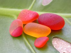 Red & Orange sea glass www.naturalseaglass.com
