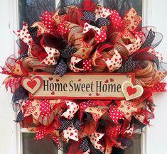 Home Sweet Home Wreath, Mesh Wreath, Hearts, Door Wreath, Wreath