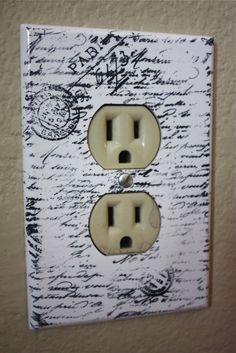 White Paris Electrical Outlet Plate Cover with Script 1. $5.00, via Etsy.