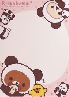 small memo pad by San-X with shamrock, Kiiroitori chick, Rilakkuma and Korilakkuma bears in panda costumes