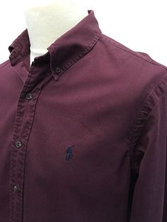 #Vintage Polo #RalphLauren #Mens #Shirt Large Custom Fit Plain Wine Coloured Cotton #menswear #mensfashion #mensstyle