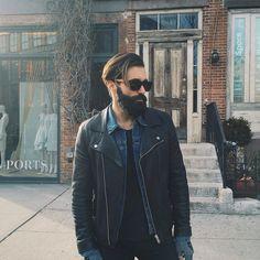 Luke Ditella - full thick black beard mustache dark beards bearded man men mens' style clothing fashion street casual sunglasses bearding handsome #beardsforever