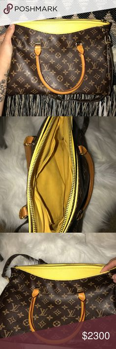 Louis Vuitton Pallas Bag ✨ I have an almost new Louis Vuitton Pallas Bag with a rich mustard yellow accent and yellow interior. The bag itself has only been used one time because it got messed with my a kiddo, who snugged the pocket, it just needs to be restiched! Thread is still attached just needs someone who knows what they are doing. Other than that the bag is in perfect condition, no scratches or marks.  Comes alone, no dust bag Removable strap Authentic and the number is AA3009 Firm on…