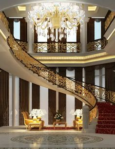 Beautiful stairs and chandelier grand staircase, grand foyer, grand entrance, luxury staircase, Foyer Staircase, Entrance Foyer, Luxury Staircase, Curved Staircase, Grand Entrance, Entry Hall, Future House, My House, Escalier Design