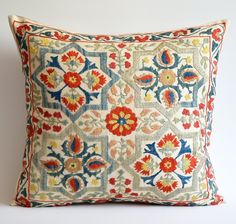 Cushion Embroidery, Embroidery Dress, Embroidered Silk, Embroidered Cushions, Textiles, Lounge Cushions, Textile Fiber Art, Organic Modern, Modern Bohemian