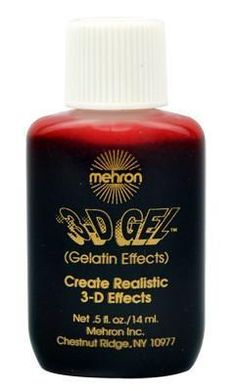 3D Blood Gel is the Mehron miracle of gelatin.  Buy it now and have the best fun with BLOOD