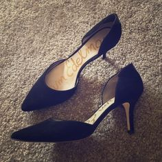 Sam Edelman Opal D'Orsay Mid-Heel Pumps Black suede. Great condition! They are just a little bit big because after wearing them a little, my heel slips out. I'm usually an 8 and they are a 7.5. I'd buy them if you're normally an 8.5 or don't have narrow of a heel as me! Super cute heels. They are probably an 1.5 inch heel. Sam Edelman Shoes Heels
