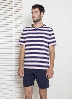 pantalón y manga tejido camiseta a con verano rayas jersey corta corto liso Pijama en hombre WPzZpnRZY